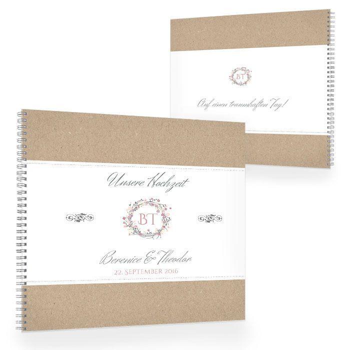 Gästebuch in Kraftpapieroptik mit Blütenkranz und Monogramm