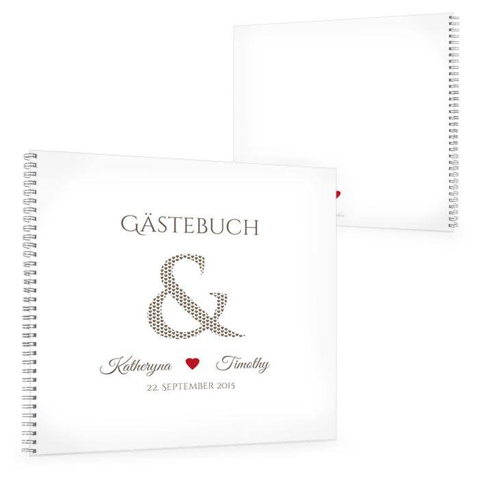 Gästebuch zur Hochzeit mit &-Zeichen und Herz in Rot