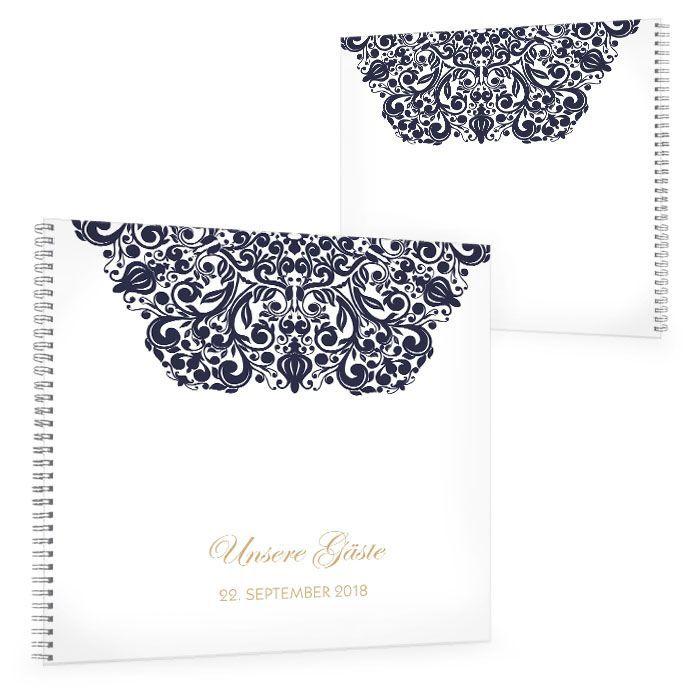Gästebuch zur Hochzeit mit barockem Ornament in Blau