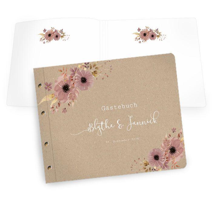 Gästebuch mit Buchschrauben in Kraftpapieroptik mit Blumen