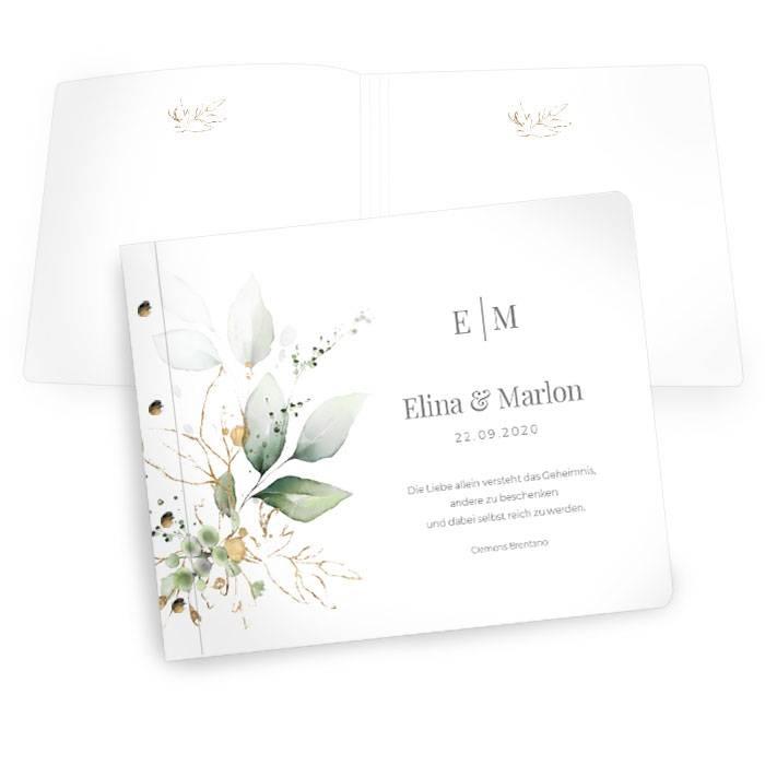 Gästebuch zur Hochzeit mit Kräutern und Eukalyptus