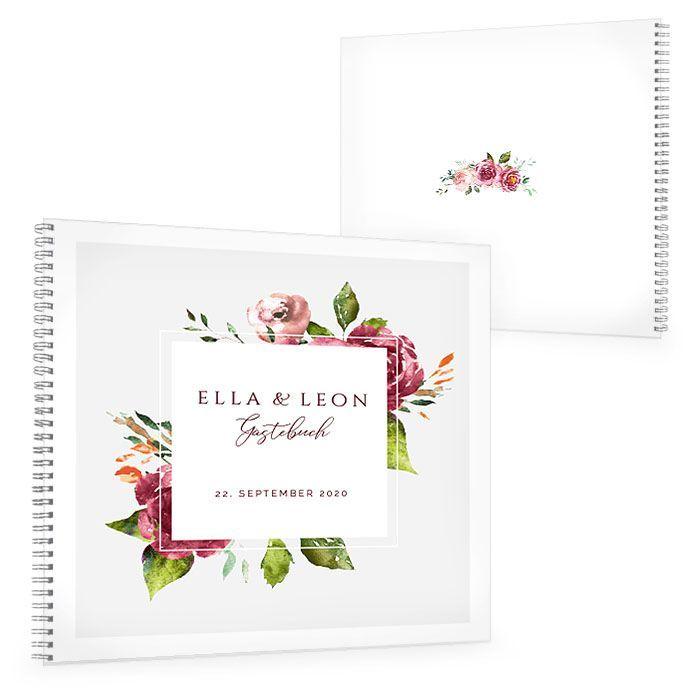 Gästebuch zur Hochzeit mit herbstlichen Watercolor Blumen