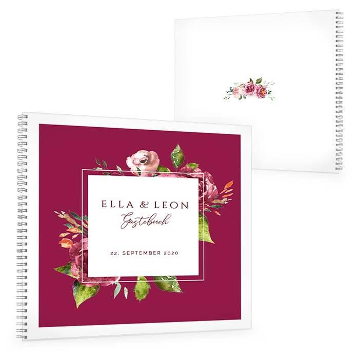 Gästebuch zur Hochzeit mit herbstlichen Watercolor Blumen in Bordeaux