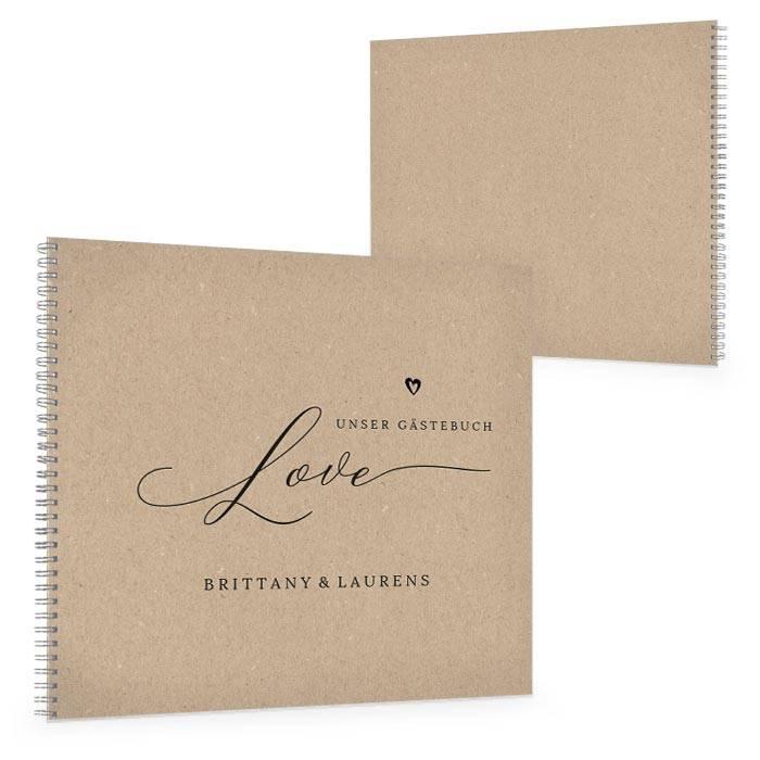 Gästebuch zur Hochzeit mit Kirschblüten und Kraftpapieroptik