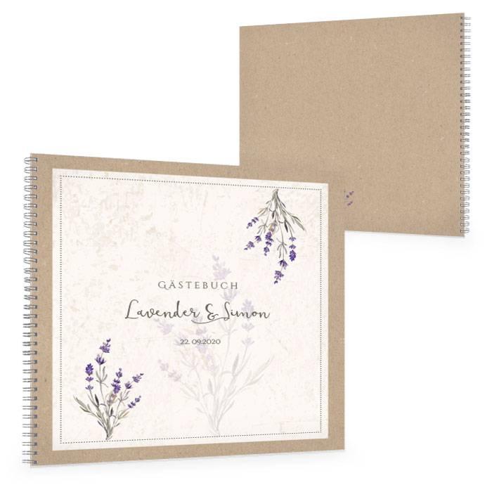 Gästebuch zur Hochzeit mit Lavendelzweig im Kraftpapierstil