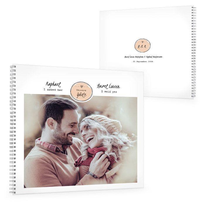 Gästebuch zur Hochzeit im Vintage Design mit Emblem in Apricot