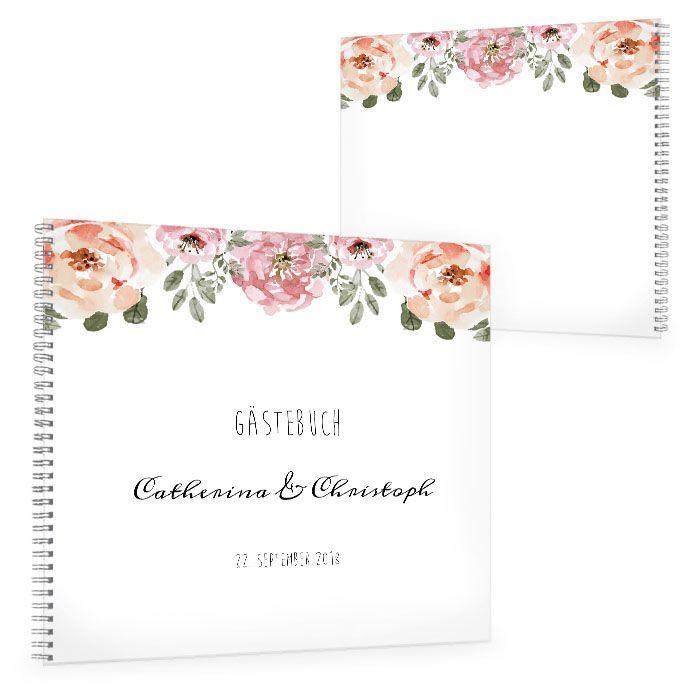 Vintage Gästebuch zur Hochzeit mit Rosen im Aquarellstil