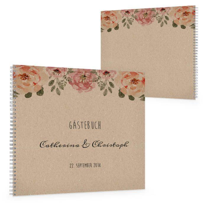 Vintage Gästebuch zur Hochzeit in Kraftpapieroptik mit Blüten