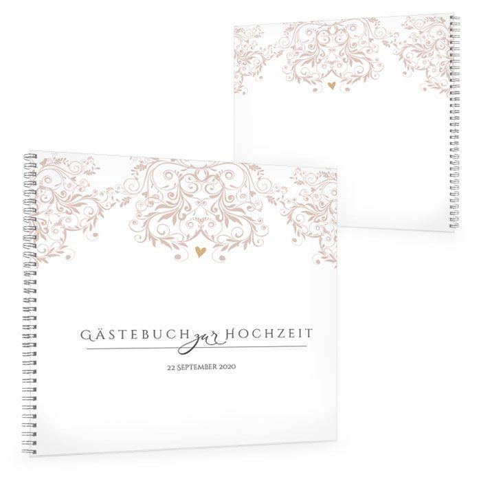 Gästebuch zur Hochzeit mit romantischen Ornamenten in Rosa