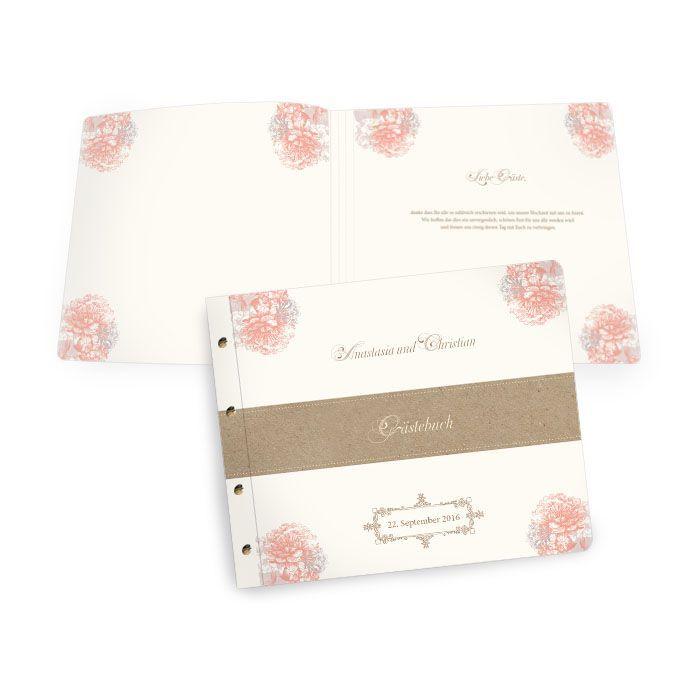 Florales Gästebuch zur Vintage Hochzeit mit Buchschrauben