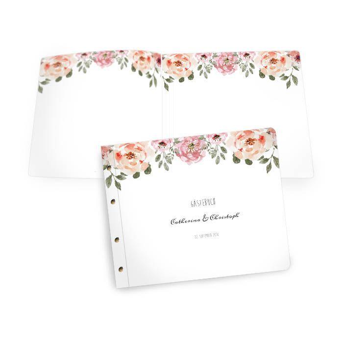 Gästebuch zur Hochzeit mit Rosendesign und Buchschrauben