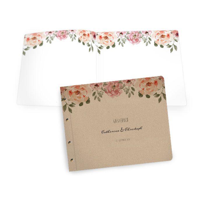 Gästebuch in Kraftpapieroptik mit Buchschrauben und Blüten