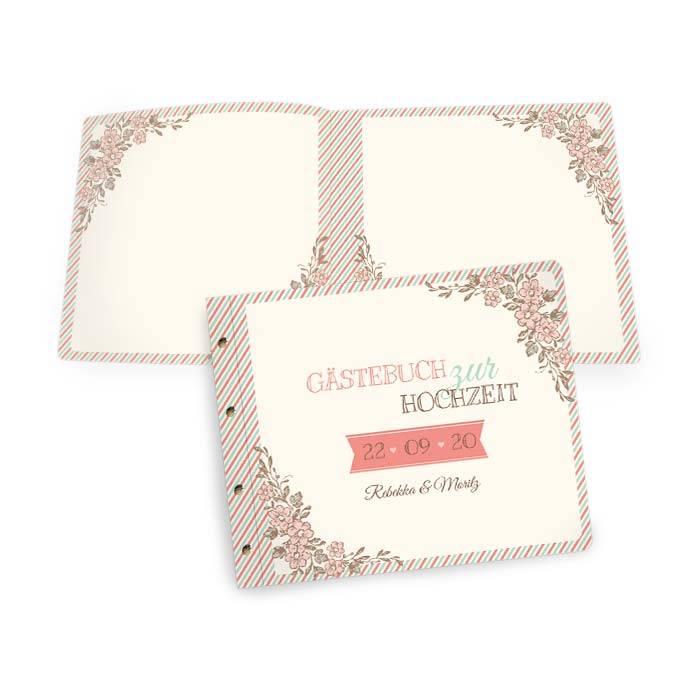 Gästebuch zur Hochzeit mit Streifendesign in Pastellfarben