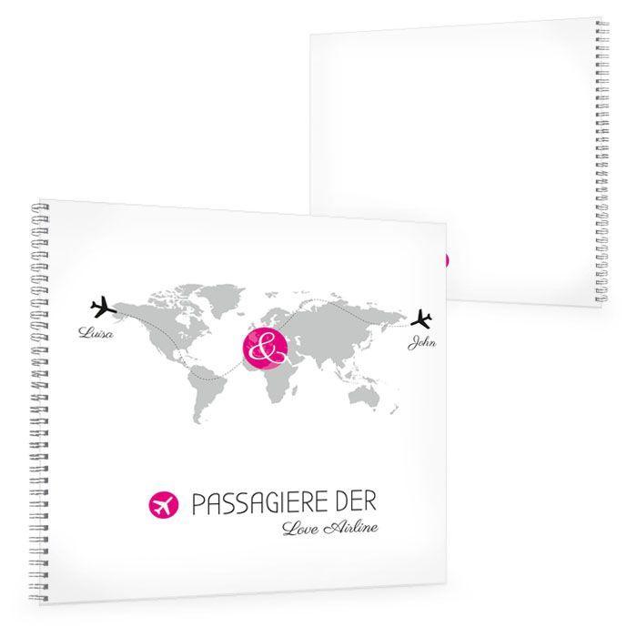 Gästebuch zur Hochzeit mit Weltkarte und Flugzeugen in Pink