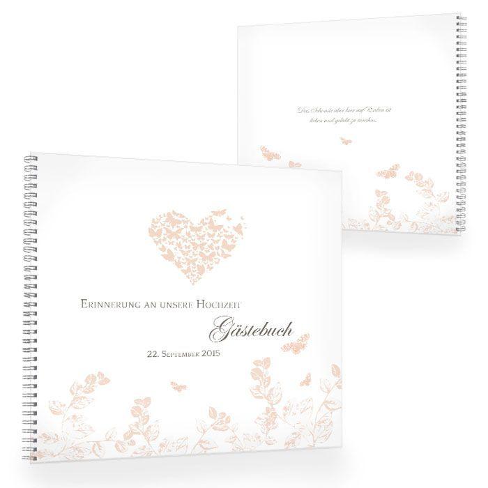 Gästebuch zur Hochzeit mit Herz und Schmetterlingen in Apricot
