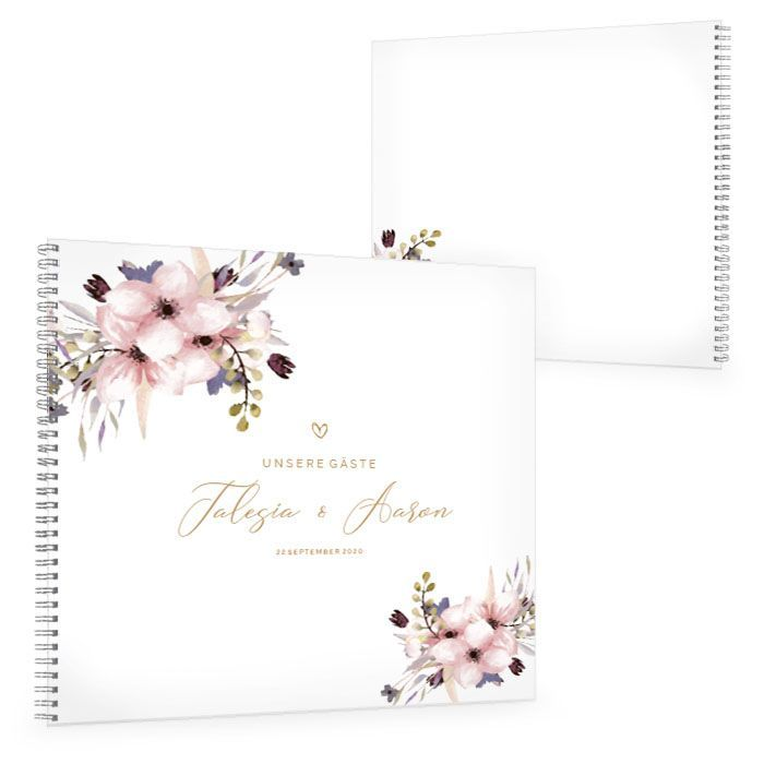 Gästebuch zur Hochzeit mit zarten Aquarellblumen