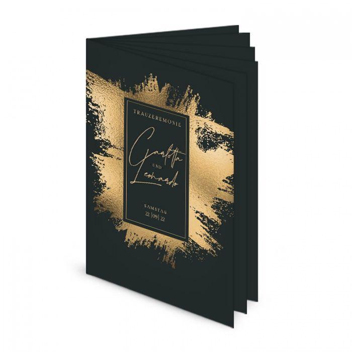 Gebundenes 12seitiges Kirchenheft mit Goldbrush im Black and Gold Design