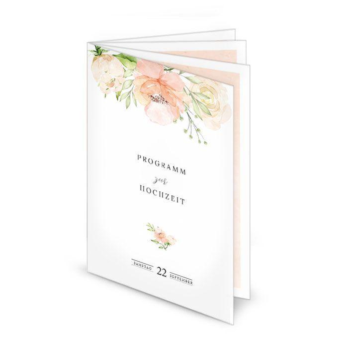 Florales Kirchenheft zur Hochzeit mit Aquarellrosen in Blush
