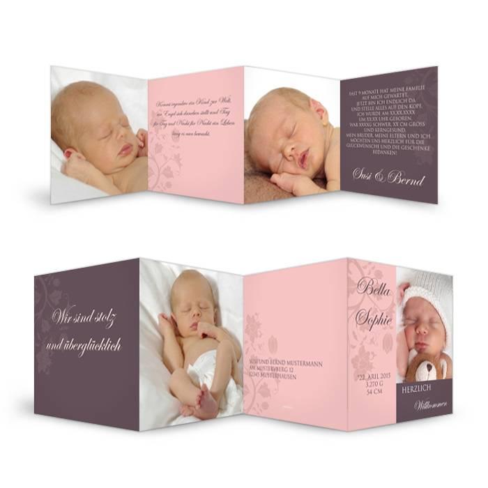Süße Geburtskarte in Rosa mit Platz für große Fotos