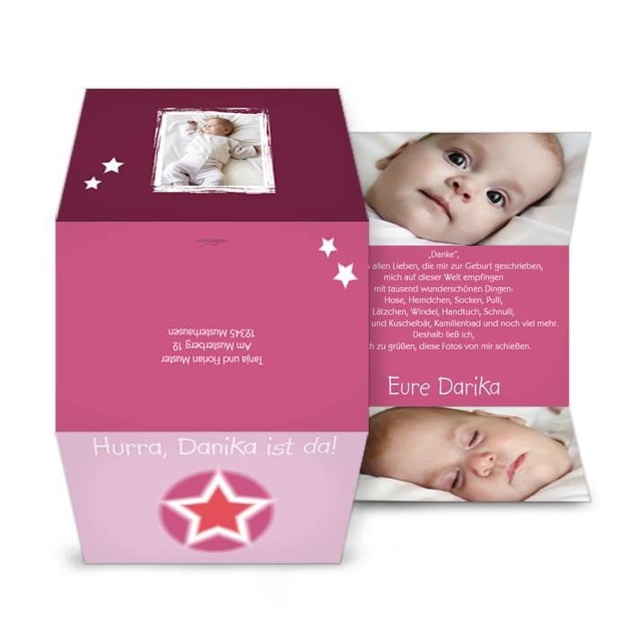 Außergewöhnliche Geburtskarte in Rosa mit Sternen