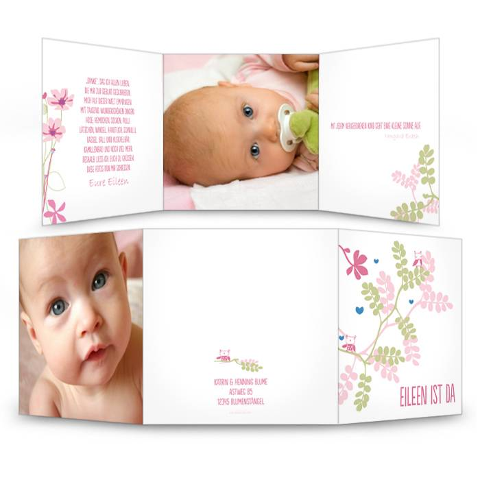Liebevolle und moderne Geburtskarte in Rosa und Grün
