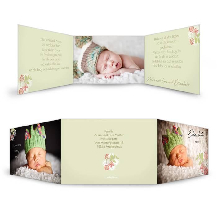 Hellgrüne Geburtskarte mit Blumen und Platz für große Fotos
