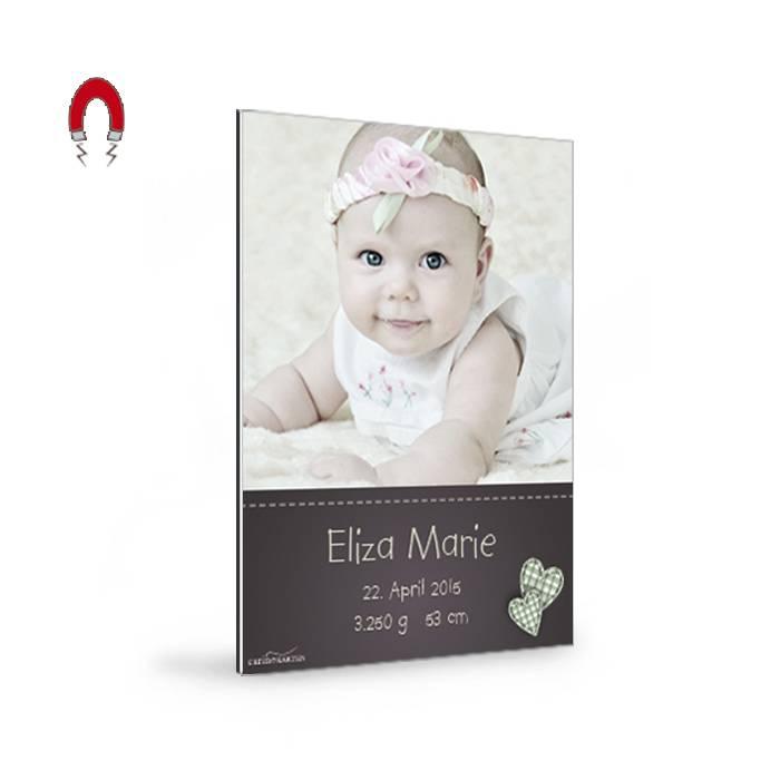 Magnetische Geburtskarte mit Foto und Vichy-Karo Herzchen