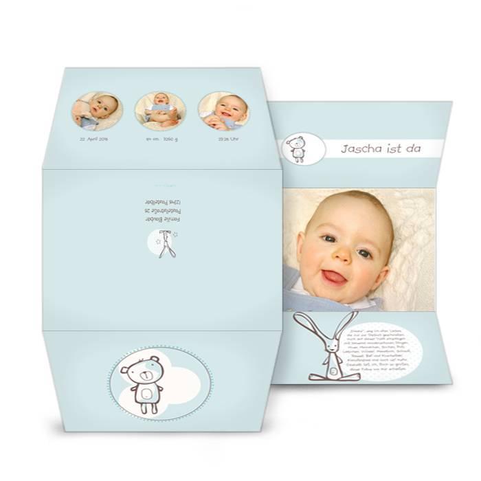 Süße Geburtskarte in Hellblau mit Teddy und Häschen
