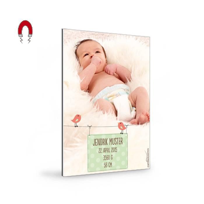 Geburtskarte als Magnet mit großem Foto und süßen Vögelchen