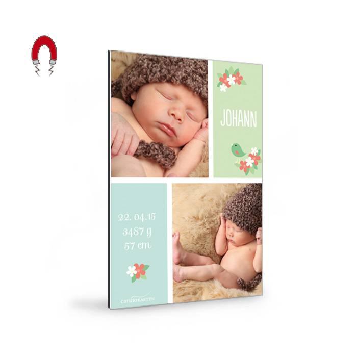 Geburtskarten-Magnet in zarten Pastellfarben und mit Baby-Fotos