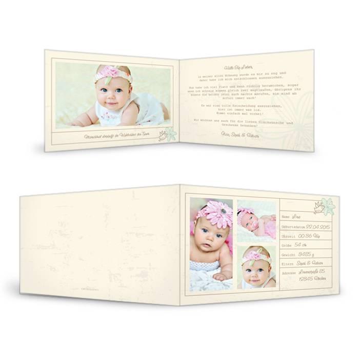 Vintage Geburtskarte in Creme mit Platz für viele Fotos