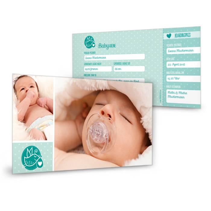 Geburtskarte als Flugticket in Türkis mit Pünktchen