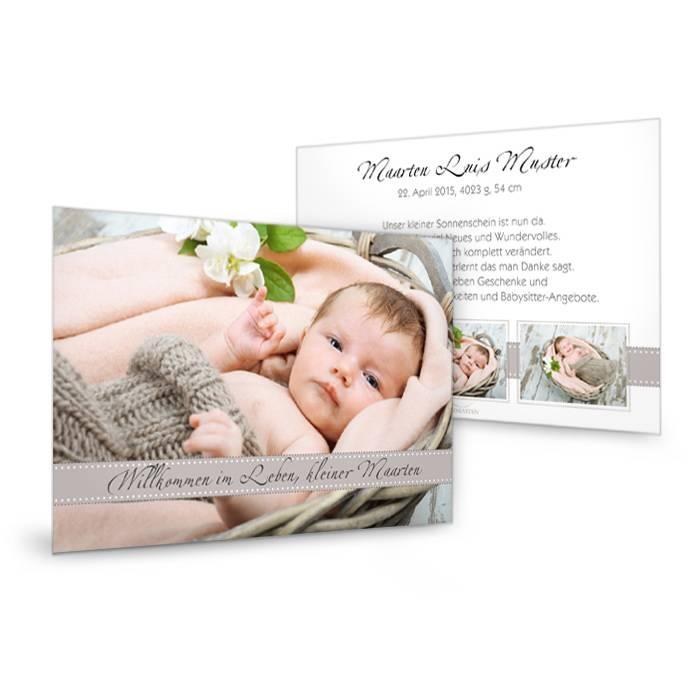 Geburtskarte mit großem Foto in modernem Design in Grau Braun