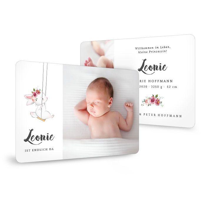 Geburtskarte mit abgerundeten Ecken und süßem Häschen