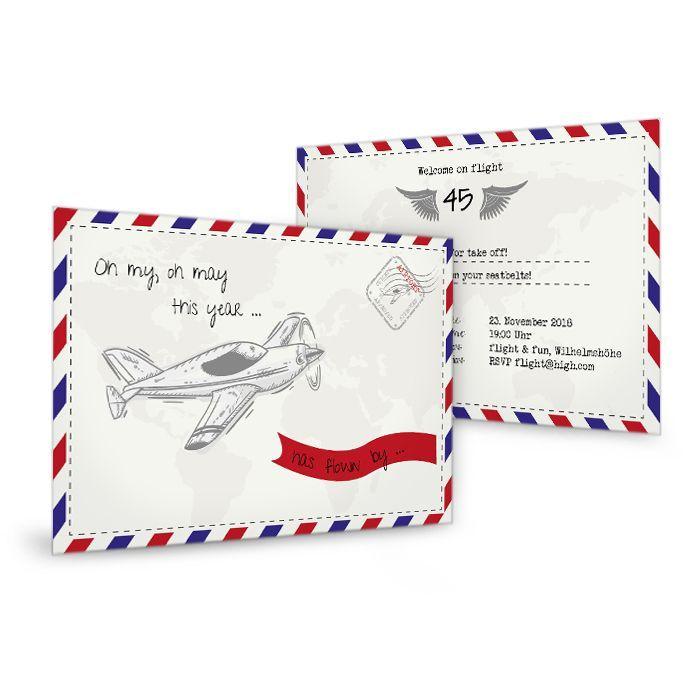 Geburtstagseinladung Aviator im Retro Air Mail Stil mit Flugzeug