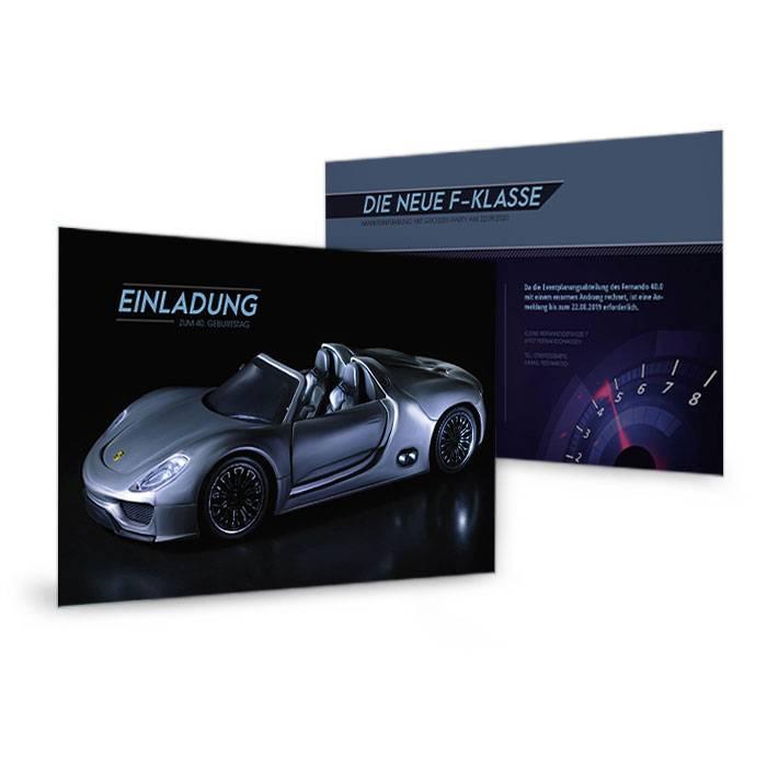 Einladung zum Geburtstag mit Auto Motiv für Sportwagenfans
