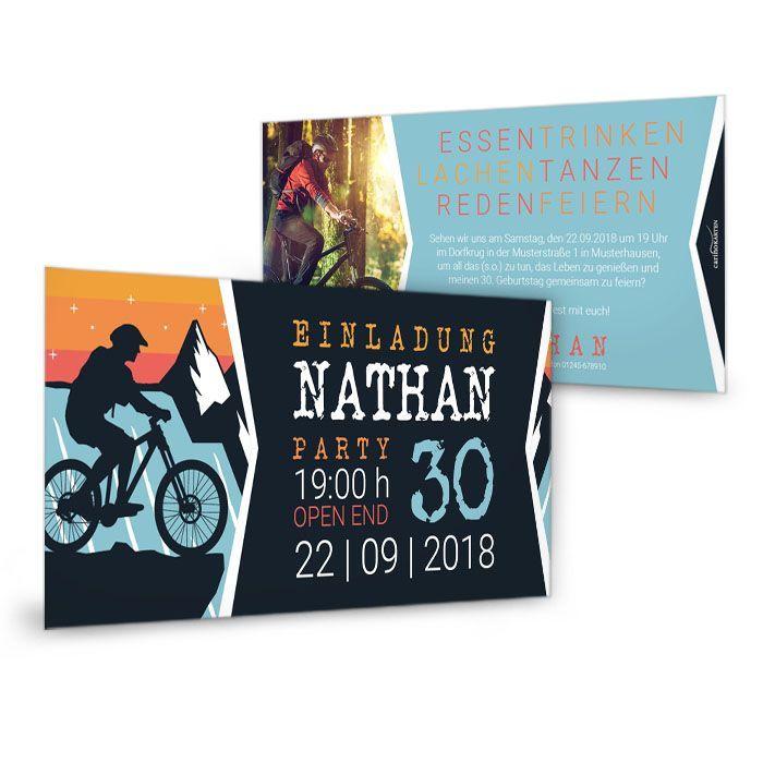 Für Mountainbike-Fahrer: Coole Einladungskarte zum Geburtstag