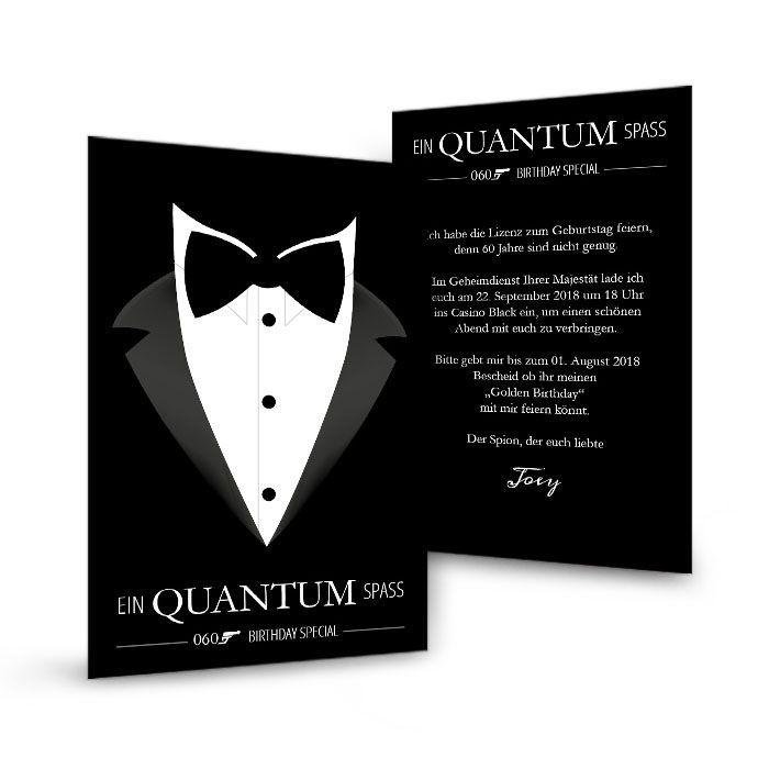 Geburtstagseinladung im 007 James Bond Stil mit Smoking