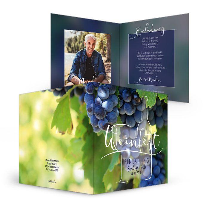 Einladung Geburtstag für Weinliebhaber zum eigenen Weinfest