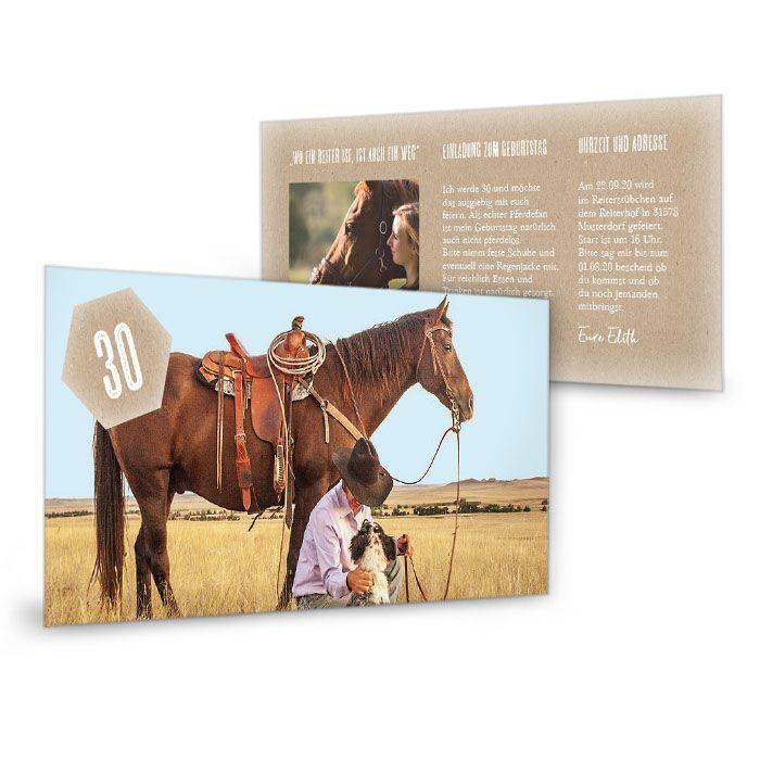 Geburtstagskarte als Einladung für Reiter im Kraftpapierlook