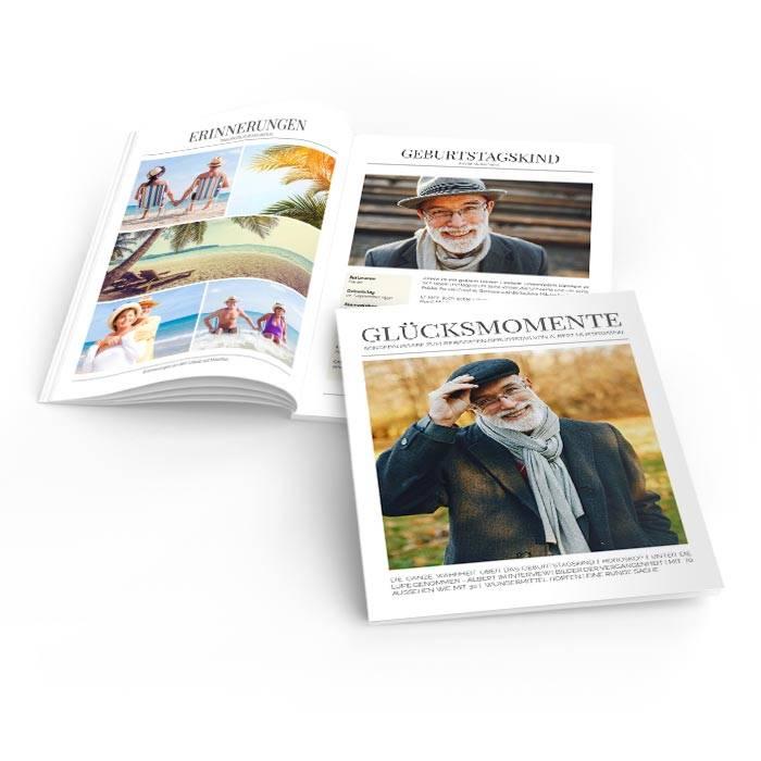 Geburtstagsszeitung Glücksmomente im modernen Zeitungslayout