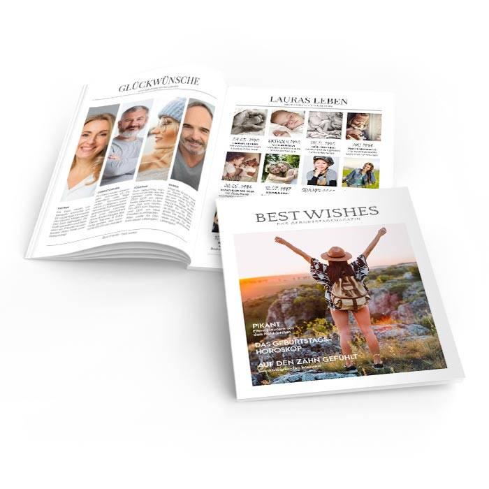 Geburtstagszeitung im Magazinstil mit Foto und Titelthemen