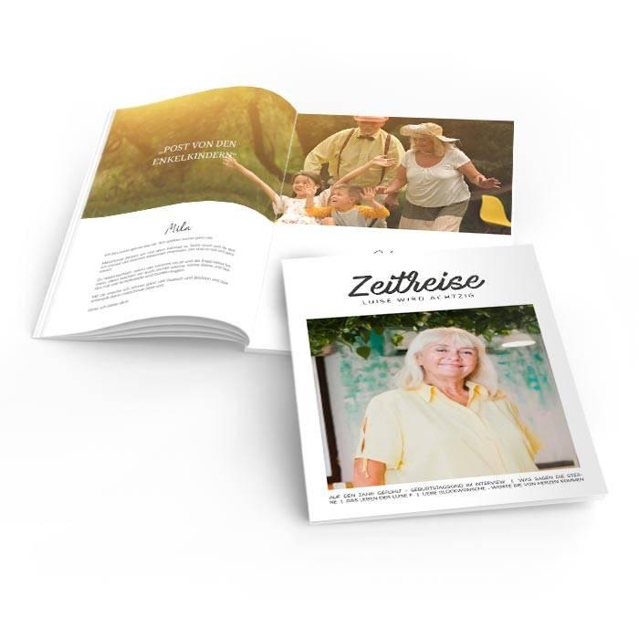 Geburtstagszeitung im modernen Magazin Layout mit großem Foto
