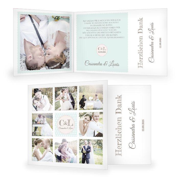 Hochzeitsdanksagung im Retrostil in Mint mit vielen Fotos