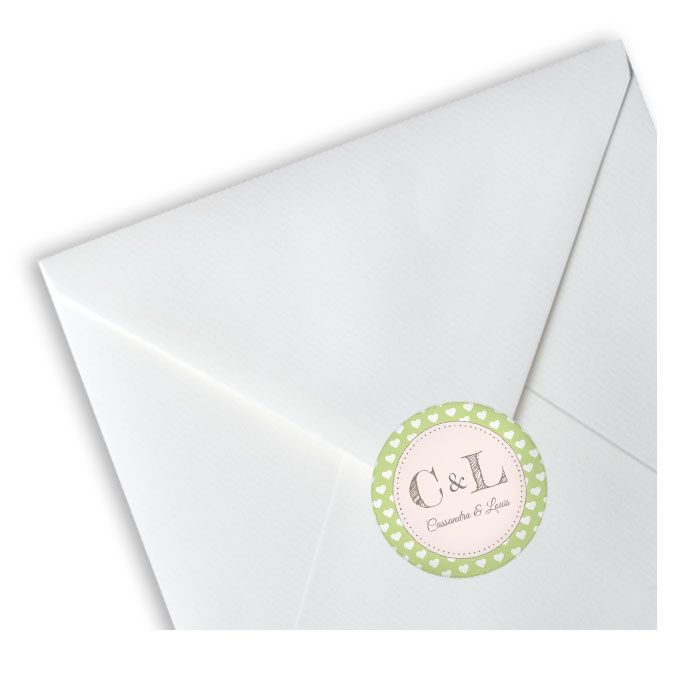 Runde Hochzeitsaufkleber im Retrostil in Grün mit Monogramm