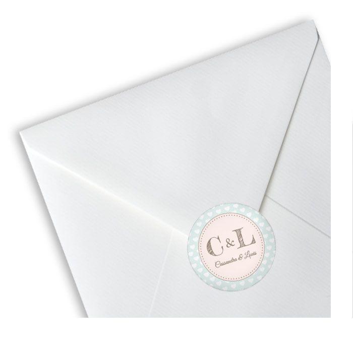 Runde Hochzeitsaufkleber im Retrostil in Mint mit Monogramm