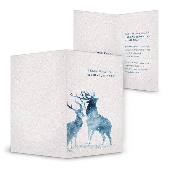 Geschäftliche Weihnachtskarte mit Aquarell Hirschen in Blau