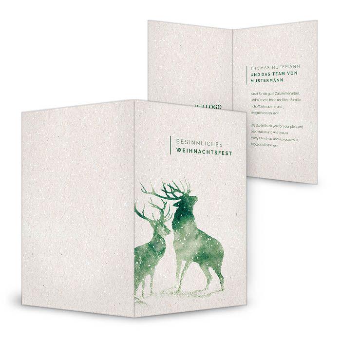 Geschäftliche Weihnachtskarte mit Aquarell Hirschen in Moosgrün