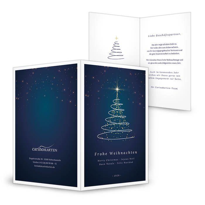 Geschäftliche Weihnachtskarte mit funkelndem Christbaum