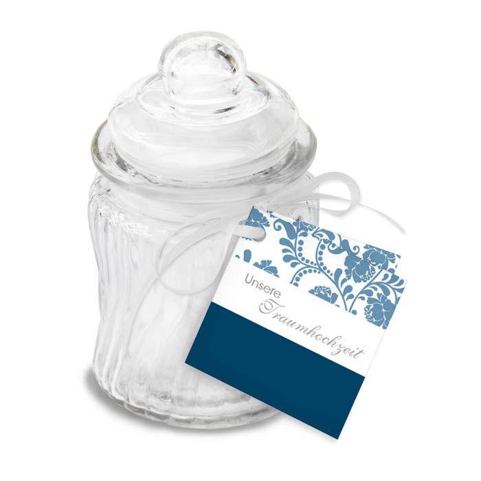 Anhänger für Gastgeschenke mit floralem Design in Blau
